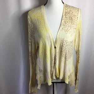 SPARROW ANTHROPOLOGIE Cardi Sweater Cream Floral